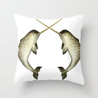 narwhal Throw Pillows featuring Narwhal by Kirsten Sevig
