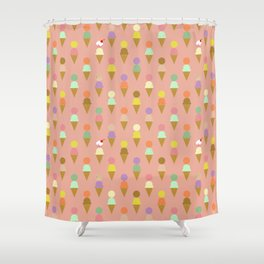 Ice Cream Cone Pattern Pink Robayre Shower Curtain