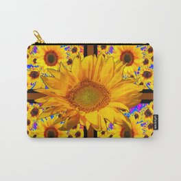 COFFEE BROWN YELLOW SUNFLOWERS DESIGN Carry-All Pouch