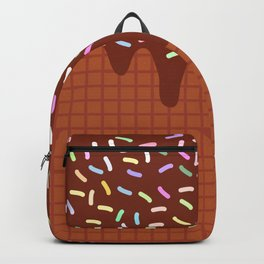 chocolate waffles with flowing chocolate sauce and sprinkles Backpack