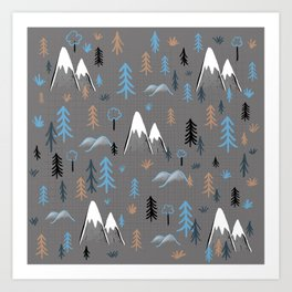 Hiking trees and mountains -blue Art Print
