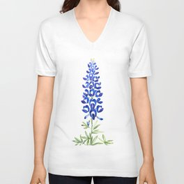 Texas bluebonnet in watercolor Unisex V-Neck