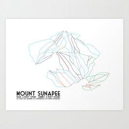 Mount Sunapee, NH - Minimalist Trail Art Art Print