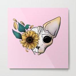 Sunflower Sphynx Cat Skull - Pastel Pink Metal Print