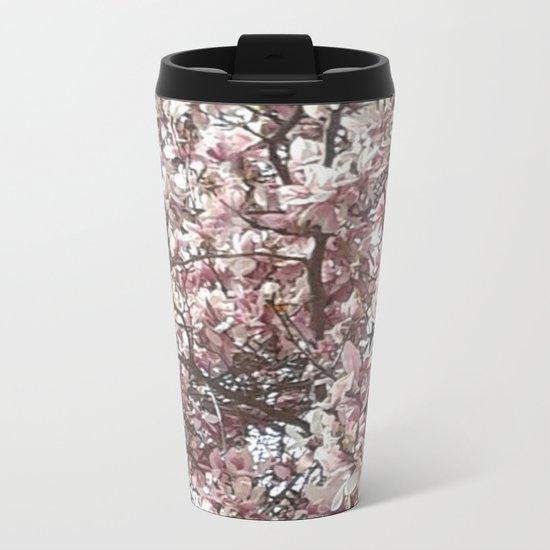 Magnolia Blossoms Metal Travel Mug
