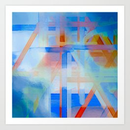 Blue Lines Overlay Abstract Art Print