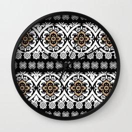 Modern black white faux gold glitter motif pattern Wall Clock