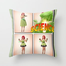 """""""SCIENCE!"""" - The Playful Pinup - Four Panel Science Pinup Girl by Maxwell H. Johnson Throw Pillow"""