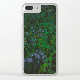 Orange and Purple Flowers Clear iPhone Case