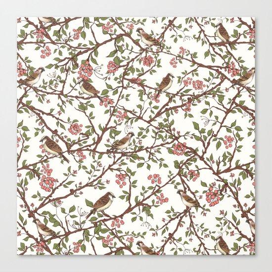 Sparrow Tree - Seamless Pattern Canvas Print
