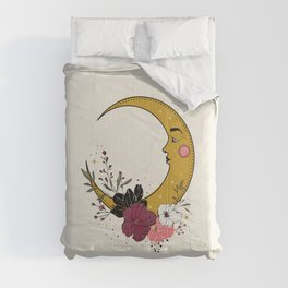 Cresent Moon Face And Flowers Comforters