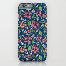 Flores y colobrí azul iPhone Case