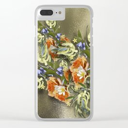 Beautiful flower bouquet on shimmering gold Clear iPhone Case