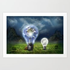 The earth and the little brother Art Print