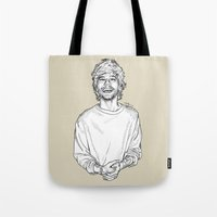 louis tomlinson Tote Bags featuring Louis Tomlinson  by Cécile Pellerin