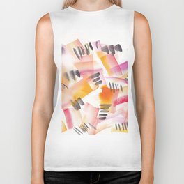 180803 August Abstract 12 | Colorful Abstract | Watercolors Brush Patterns Biker Tank