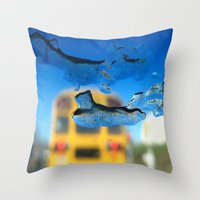 sia Throw Pillows featuring yellow bus and ice photography  by Antoine