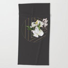 Tropical Flowers & Geometry III Beach Towel