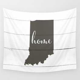 Indiana is Home - Charcoal on White Wood Wall Tapestry