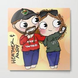 Cartoon Me:Heather & Andy Metal Print