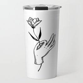 Hold This Flower for Me Please - Black on white Travel Mug