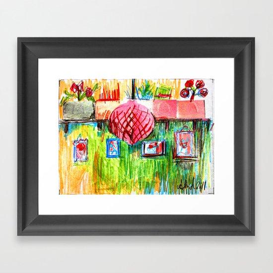 red lamp and shelf Framed Art Print