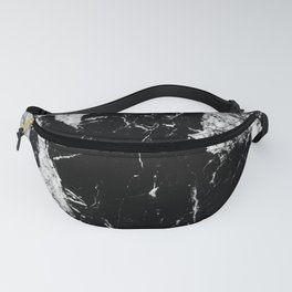 Dark marble black white stone1 Fanny Pack