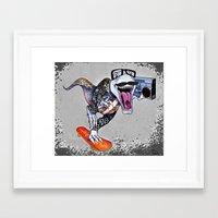 trex Framed Art Prints featuring TRex Hipster Dufus by Designer R.M.D