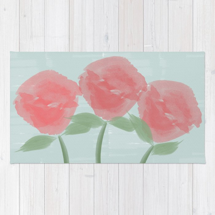 Red Watercolor Roses Rug