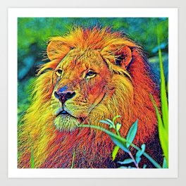 AnimalColor_Lion_005_by_JAMColors Art Print