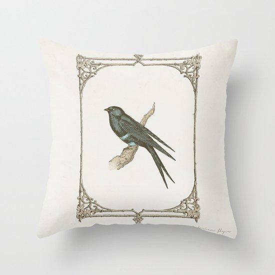 A Victorian Bird Throw Pillow