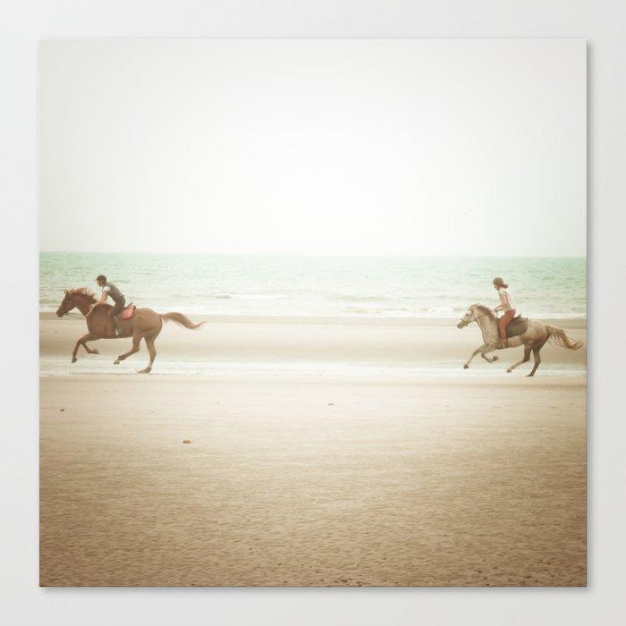 Horses on the Beach Canvas Print