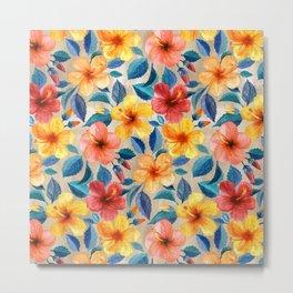 Colorful Watercolor Hibiscus on Warm Beige Metal Print