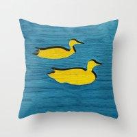 ducks Throw Pillows featuring Ducks by Brontosaurus