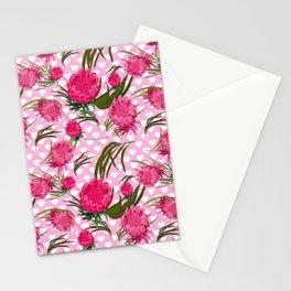 Pink Protea Print - Australian Native Floral Pattern - Gorgeous King Protea Stationery Cards