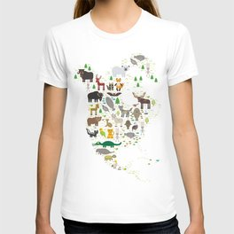 Map of North America with Animals bison bat manatee fox elk horse wolf partridge seal Polar bear T-shirt
