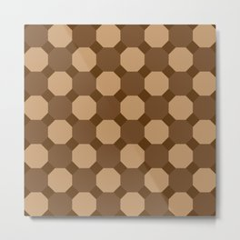 Brown Octagons Metal Print