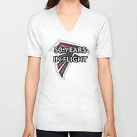 nfl V-neck T-shirts featuring NFL - Falcons 50 Years by Katieb1013