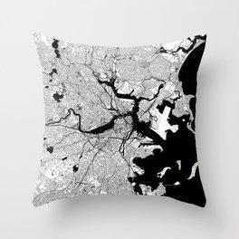 Boston Black and White Map Throw Pillow