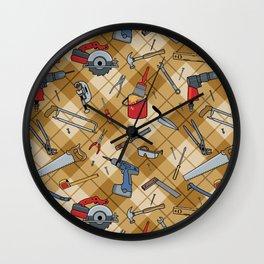 Household Tools Plaid Wall Clock