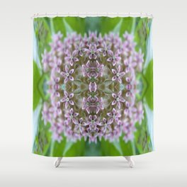 Kaleidoscope Pink Milkweed Flower Macro Photograph Shower Curtain
