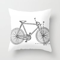 blueprint Throw Pillows featuring Bicycle Blueprint by BravuraMedia