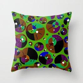 Bubble green black Throw Pillow