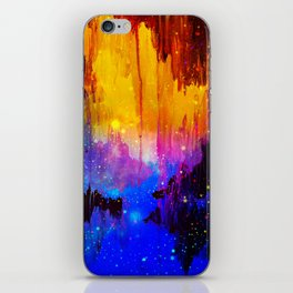 CASTLES IN THE MIST Magical Abstract Acrylic Painting Mixed Media Fantasy Cosmic Colorful Galaxy  iPhone Skin