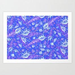 Seashells Sea Shells Underwater Pattern Paper Collage Ultramarine Art Print