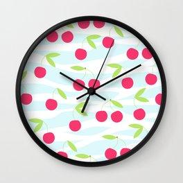Seamless cherry pattern on striped Wall Clock
