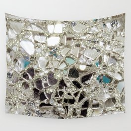 An Explosion of Sparkly Silver Glitter, Glass and Mirror Wall Tapestry