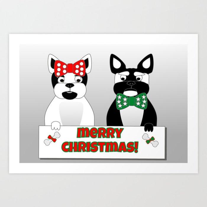 French Bulldogs Merry Christmas Art Print
