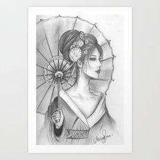 Elegant Oriental Japanese Geisha by Ashley Rose Standish Art Print
