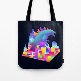 Neon city Godzilla Tote Bag